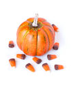 Pumpkin and Candy Corn on a white background. A single Autumn Pumpkin with festive candy corn on a vertical white background stock photo