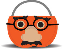 Pumpkin Candy Holder Wearing Disguise Royalty Free Stock Image