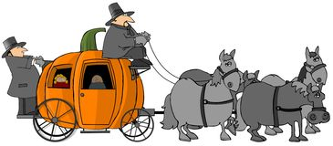 Pumpkin Carriage. This illustration depicts a giant pumpkin carriage being pulled by four gray horses Royalty Free Stock Photography
