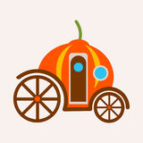 Pumpkin carriage from fairy tale of Cinderella vector illustration isolated. Magical transport made from vegetable with help of magic, transportation vehicle Royalty Free Stock Images