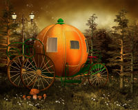 Pumpkin carriage in a forest royalty free illustration