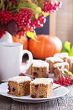 Pumpkin and carrot cake with cream cheese Royalty Free Stock Photography