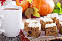 Pumpkin and carrot cake with cream cheese Stock Photography