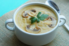 Pumpkin, carrot and Champignon mushrooms soup. With cream and parsley on light green background Top view Royalty Free Stock Photography
