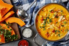 Pumpkin carrot chicken breast creamy soup. Overhead view of delicious pumpkin carrot chicken breast creamy soup in a metal casserole on a concrete table with royalty free stock image