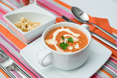 Pumpkin carrot cream soup with croutons Stock Photography