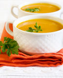 Pumpkin, carrot, ginger soup Royalty Free Stock Photography