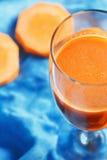 Pumpkin and carrot juice closeup Royalty Free Stock Photos