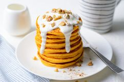 Pumpkin or Carrot Pancakes with Nuts, Stack of Homemade Pancakes stock images
