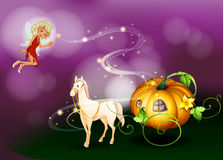 A pumpkin cart with a fairy holding a wand. Illustration of a pumpkin cart with a fairy holding a wand Royalty Free Stock Image