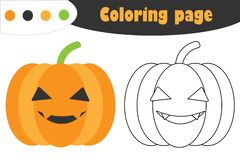 Pumpkin in cartoon style, halloween coloring page, education paper game for the development of children, kids preschool activity, royalty free illustration