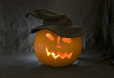 Pumpkin with a carved face Royalty Free Stock Photo