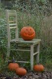 Pumpkin carved into traditional Halloween Jack O'Lantern Stock Image