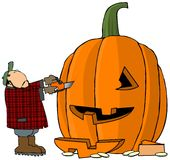 Pumpkin Carver. This illustration depicts a man carving a pumpkin with a chainsaw Stock Photography