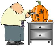 Pumpkin Carver. This illustration depicts a man carving a jack-o-lantern with a surprised expression Royalty Free Stock Photography