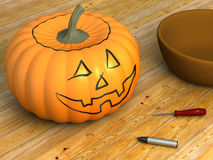 Pumpkin For Carving. A render of a pumpkin marked ready for carving vector illustration