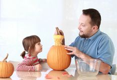 Pumpkin carving Royalty Free Stock Image