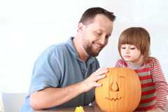 Pumpkin carving Stock Images