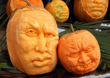Pumpkin Carving. Pumpkin сarving in the form of a human head Royalty Free Stock Images
