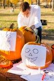 Pumpkin carving Stock Photos