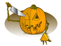 Pumpkin Carving. Himself with a Large Knife Royalty Free Stock Image