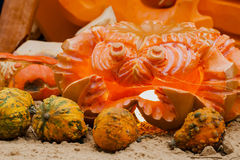 Pumpkin carving in the shape of a crab, luminous lantern. decorations for autumn holidays. Pumpkin carving in the shape of a crab, luminous lantern. decorations stock images