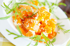 Pumpkin casserole with cheese in a white plate Stock Photo