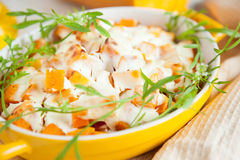 Pumpkin casserole with rice and cheese royalty free stock image