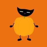 Pumpkin with cat head. Orange pumpkin on two black legs and two black legs with black cat head on green neck isolated on bright orange background. Нalloween Stock Photo