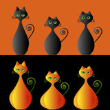 Pumpkin cats Stock Images