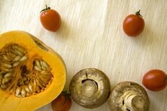 Pumpkin and champignons Royalty Free Stock Photo