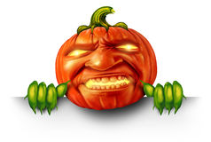 Pumpkin Character Blank Sign Royalty Free Stock Photos