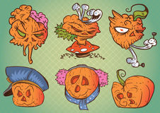 Pumpkin Character Faces Stock Images