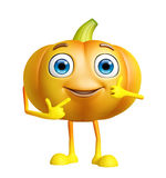 Pumpkin character with pointing pose Stock Images