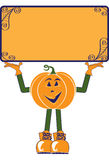 Pumpkin Character With Sign. Illustration of a smiling pumpkin character holding up a blank rectangular orange sign.  Isolated on a white background.  Conceptual Stock Photo