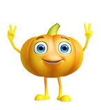Pumpkin character with win pose Royalty Free Stock Image