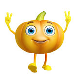 Pumpkin character with win pose Stock Photos