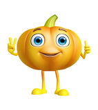 Pumpkin character with win pose Stock Photography