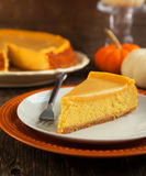 Pumpkin  cheesecake with caramel Royalty Free Stock Photography