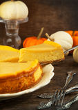 Pumpkin  cheesecake with caramel Royalty Free Stock Image