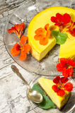 Pumpkin cheesecake decorated with fresh flowers. Vertical format Stock Photos