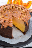 Pumpkin cheesecake with nuts Royalty Free Stock Photo