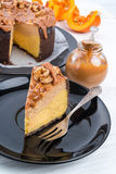 Pumpkin cheesecake with nuts Stock Photography