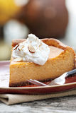 Pumpkin Cheesecake Pie with Whipped Cream Royalty Free Stock Image