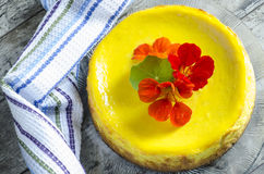 Pumpkin cheesecake served with kitchen towel Royalty Free Stock Photo