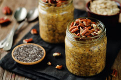 Pumpkin Chia seeds overnight oats with pecans Royalty Free Stock Photo