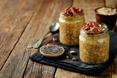 Pumpkin Chia seeds overnight oats with pecans Stock Photography