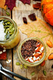 Pumpkin chia seeds overnight oats Stock Image