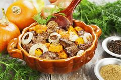 Pumpkin with chicken liver Stock Images
