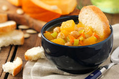 Pumpkin and chickpea soup Stock Images